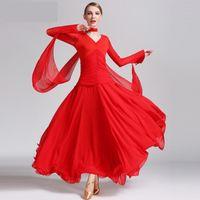 Vals Tango İspanyol Flamenko Elbise Standart Dans Ballroom için 4 Renkler Yeni Tasarım Modern Ballroom Dans Elbise