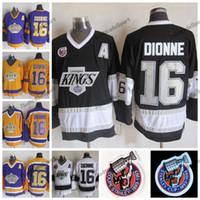 Vintage 1993 Coupe Stanley 100e Kings de Los Angeles Marcel Dionne Chandails de hockey LA KINGS 16 Marcel Dionne Chemises de hockey cousues Un patch