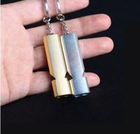 도매 더블 주파수 금 / 은색 비상 사태 EDC 몰래 생존 호각 키 체인 공중 알루미늄 합금 캠핑 하이킹 액세서리 도구