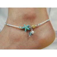 Gioielli 2019 vendita calda minimalista piccola perla delle stelle marine braccialetto alla caviglia Boemia fascino Conch Whore Halhal Barefoot catena donne Summer Beach