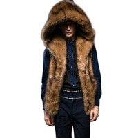 Chaleco de piel de imitación con capucha de invierno Hombres sin mangas Peludo espesante Chaqueta abrigada abrigo abrigo masculino mas tamaño s-3xl chaleco