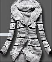 Bucrsatn 무료 배송 2019 유럽과 미국의 새로운 플러스 벨벳 후드 니트 카디건 여성 의류