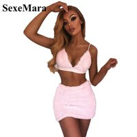 Großhandel Kunstpelz Rosa Sexy Zweiteiler Set Hlater Bralette Crop Top und Minirock Herbst Winter Outfits Club Dress Suit D34-H94