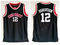 رخيصة أوسكار روبرتسون جيرسي 12 جامعة كرة السلة سينسيناتي Bearcats كلية الفانيلة الرجال اللون الأسود تنفس لرياضة المشجعين بيع