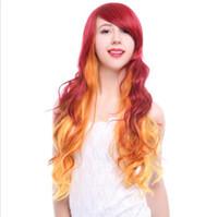 Starfire Cosplay Peruk Kadınlar Uzun Dalgalı Dalga Kıvırcık Peruk Yangın Turuncu Kırmızı Ombre Saç