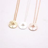 Moda 18 k Altın gümüş basit Kolye Geometrik Düzlem Şekiller kolye pusula kolye-Ücretsiz Kargo kadınlar için en iyi hediye