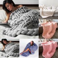 80 * 100 cm linha grossa e macia fio gigante de malha cobertor tecelagem da mão fotografia adereços cobertores de malha de crochê macio cobertores de tricô