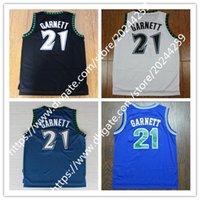 men' s 21 Kevin Garnett Jersey Black Blue White Basketba...