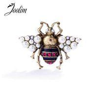 JOOLIM Vintage perla simulada abeja Pin broche antiguo Pin broche de joyería de traje envío gratis
