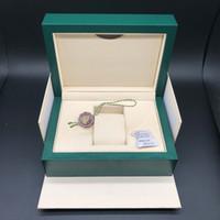 أفضل جودة الظلام الأخضر ووتش مربع هدية حالة ل رولكس الساعات كتيب بطاقة العلامات والأوراق في الإنجليزية السويسرية الساعات صناديق JOAN007