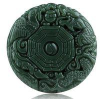 Natural verde Hetian Jades colgante 3D tallado redondo BaGua con Dragon Phoenix colgantes mujeres hombres amuleto nefrita Jades joyería