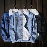 2018 Winter Fashion Mens Jean Jacket Outwear Uomo Cowboy maschile Giacca e cappotto Trendy Warm Fleece Denim