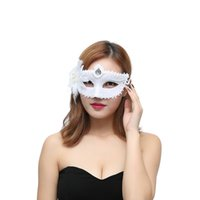 White Color Princess Mask with Flower Side Venetian Half Fac...