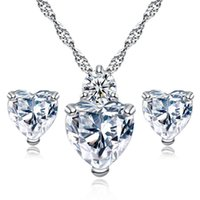 High quality CZ Heart necklace stud Earrings sets crystal Rh...