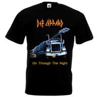 Ordina T-Shirt O-Neck Manica corta Tall Def Leppard On Through The Night Maglietta Black Poster Tutte le taglie S To 3XL T Shirt