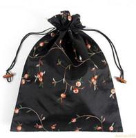 27*37 см китайский ручной Embroiderd цветочные шелковые обуви сумки портативный шнурок путешествия хранения сумки мешок 50 шт.