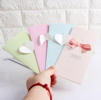Cancelleria coreana Partysu Lovely 3D Bowknot Love Shaped Greeting Cards Blessing Birthday Cards Piccoli regali all'ingrosso Cards