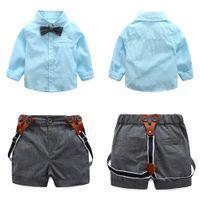 2pcs bébé garçons vêtements ensemble bébé manches longues supérieure + pantalon enfants enfant enfant gentlemen shirt bowknot shirt pants tensieurs