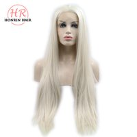 Honrin Hair Long Silky Straight Blonde Wigs Synthetic Lace F...