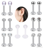 316L Surgical Steel Zircon Nose Ring Lip Ring Set Body Pierc...