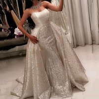 Silver Sequined Luxury Evening Dresses Sweetheart Sleeveless Mermaid Red Carpet Gowns Back Zipper With Detachable Train Custom Made Gowns