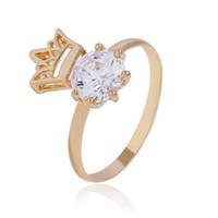 Style simple rose plaqué or bijoux anneaux de haute qualité couronne cristal coréen mode bijoux fabrication femmes pas cher anneau en gros