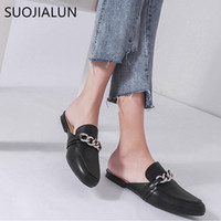 SUOJIALUN 2018 Summer Women Slippers Plus Size 36-41 Fashion Chian Decoration Flat Exterior Ladies Casual Mulas Slides Shoes