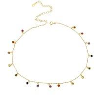 2018 Rainbow CZ Simple CZ Charm Délicat Femmes Filles Bijoux 925 Sterling Silver Déclaration Fine Silver Charme Colliers Colliers Classic