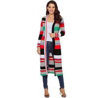 Nuevo jersey de punto de mujer de invierno de otoño cálido jersey Abrigo de punto de chaqueta de manga larga de rayas multicolor abierto