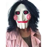 Heiße neue Film sah Kettensäge Massaker Jigsaw Puppet Masken Latex gruselig Halloween Geschenk Vollmaske Scary Prop unisex Party Cosplay liefert