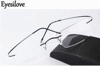 Ultra-hafif Siluet Çerçevesiz Optik Çerçeveleri Kadın Erkek Gözlük Çerçeve Saf Titanyum Gözlük Miyopi Çerçeve Hipoalerjenik Menteşesiz Gözlük