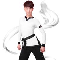 2018 Latin Dans Gömlek Erkekler Uzun Kollu V Boyun Balo Salonu Gömlek Rekabet Dans Giysileri Tops