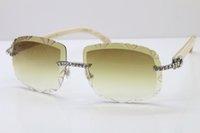 Occhiali da sole intagliati Glasses Big Stones Genuine Edition Natural White Limited T8200762 Hot Auto-Made Rimless New Sun Unisex Lens Kulaa