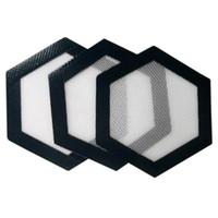 Qualidade FDA food grade reutilizável non stick concentrado bho cera óleo slick Forma hexagonal resistente ao calor de fibra de vidro dab pad tapete 70 pcs