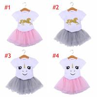 INS Licorne Enfants Bébé Filles Tenue Vêtements Cartoon T-shirt Tops filles Tutu Tulle Jupe Robe filles costumes Vêtements 2pc Ensembles 6style choisir