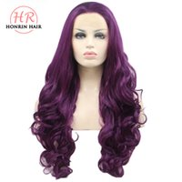 Honrin Hair Long Body Wave Lace Front Wig Purple Synthetic H...