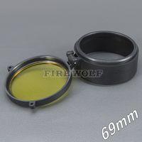69mm 손전등 커버 스코프 커버 라이플 스코프 렌즈 커버 내부 직경 69mm 투명한 노란색 유리 사냥