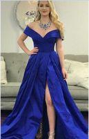 파란색 V 브래지어 목 어깨 춤 드레스 라인 A 아랍어 두바이 프런트 분할 얼룩 우아한 칵테일 드레스 2019 정장 이브닝 파티 가운