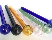 10 см Самые дешевые красочные Pyrex Стеклянные нефтяные горелки для горелки стеклянные трубки трубы трубы Tobcco Herb Стеклянные нефтяные ногти
