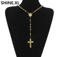 Hip Hop glacé sur de longs colliers chapelet perle chaîne croix pendentif couleur or catholique église balle bijoux