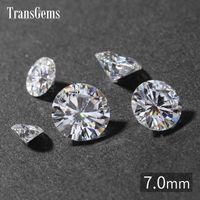 TransGems 7mm 1.2 Karat GH Renk Sertifikalı Lab Grown Elmas Moissanite Gevşek Boncuk Testi Pozitif Gerçek Elmas Gemstone Olarak