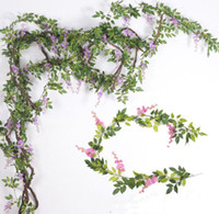 2m soie fleurs artificielles glycines de rotins vigne glycines avec des feuilles vertes suspendues fausses fleurs décoration de jardin maison de mariage