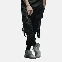 Pamuk Erkekler 'ın Pantolon Cep Tam Boy Erkekler Hiphop Joggers Pantolon Artı Boyutu Pantolon Erkek Kemer Kadın Streetwear