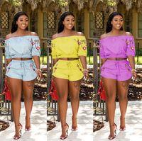 2018 летние женские шорты костюмы короткие без бретелек футболки топ эластичный пояс шорты две штуки цветочный принт плиссированные шорты установить случайный отдых