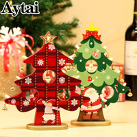 wholesale DIY Christmas Ornament Wooden LED Christmas Tree H...