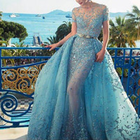 Overskirt와 매혹적인 라이트 블루 이브닝 드레스 크리스탈 레이스 Applique 보석 목걸이 짧은 소매 이브닝 드레스 섹시 댄스 파티 드레스를 통해 볼