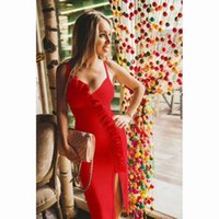 2018 sexy red Spaghetti prom dress knee length zipper back f...