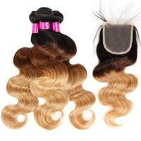 1B / 27 1B / 4/27 Blonde Menschenhaarspitze Verschluss Ombre Haar Bundles Mit Verschluss Brasilianische Reine Haarkörperwelle Mit Verschluss
