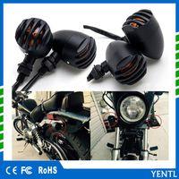 YENTL envío gratis 12 V Universal Bobber Cafe Racer Chopper Señales de giro Luces indicadoras Motocicleta Retro Parrilla Faro Hi / Lo Faro
