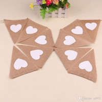 Pennini di iuta rustici a forma di triangolo marrone Bandiere di stringa Love Heart Print Decorazioni di nozze Modello Garden Hanging Banner 6 8dl ZZ